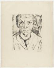 Max Beckmann, Autoritratto di fronte, sullo sfondo frontone di casa   Selbstbildnis von vorn, im Hintergrund Hausgiebel