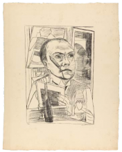 Max Beckmann, Autoritratto in hotel | Selbstbildnis im Hotel | Self portrait in hotel [1922]
