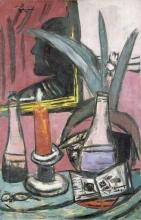 Max Beckmann, Autoritratto in un grande specchio con candela | Selstbildnis im grossen Spiegel mit Kerze | Self portrait in a large mirror with candle