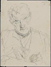 Max Beckmann, Autoritratto mentre disegna   Selbstbildnis zeichnend   Self portrait drawing [1915]