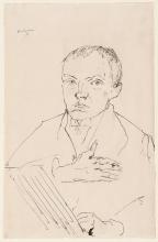 Max Beckmann, Autoritratto mentre disegna | Selbstbildnis beim zeichnen | Self portrait drawing [1917]