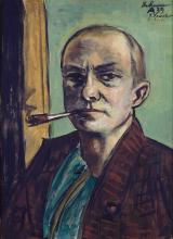 Max Beckmann, Autoritratto su sfondo verde con camicia verde | Selbstbildnis auf Grün mit grünem Hemd