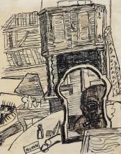 Max Beckmann, Autoritratto, il disegnatore nello specchio (Manon) | Selbstbildnis, Der Zeichner im Spiegel (Manon)