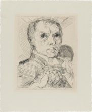 Max Beckmann, Autoritratto con lo stilo | Selbstbildnis mit Griffel | Self portrait with stylus