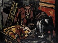 Max Beckmann, Buoi nella stalla | Ochsenstall | Cattle in a barn