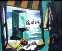 Max Beckmann, Cabina da spiaggia (verde) | Badekabine (grün)