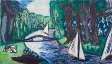 Max Beckmann, Canale in un bosco con barche a vela | Waldgracht mit Segeln
