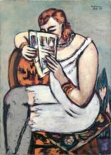 Max Beckmann, Donna in camicia bianca (che legge) | Frau in weißem Hemd (lesend)