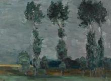 Max Beckmann, Filare di alberi contro un cielo grigio | Baumreihe vor grauem Himmel
