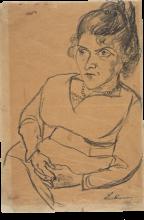 Max Beckmann, Fridel Battenberg, mezza figura, seduta | Fridel Battenberg, Halbfigur, sitzend