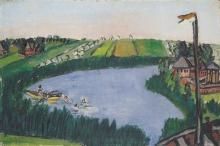 Max Beckmann, Giornata d'estate - Paesaggio olandese con bagnanti   Sommertag - Holländische Landschaft mit Badenden