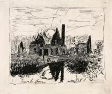 Max Beckmann, Grumbenferm (Case dietro uno stagno, contro sole)