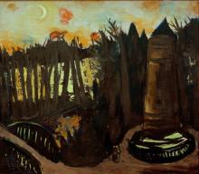 Max Beckmann, Il Tiergarten di notte con cielo rosso | Tiergarten bei Nacht mit rotem Himmel | The Tiergarten by night with red sky