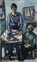 Max Beckmann, La cucina - Quappi con pesci   Die Küche - Quappi mit Fischen