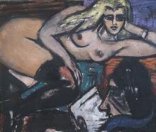 Max Beckmann, La lettera, seminudo sdraiato | Der Brief, liegender Halbakt | The letter, lying semi-nude