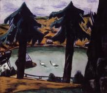 Max Beckmann, Lago di montagna con cigni | Bergsee mit Schwänen | Mountain lake with swans