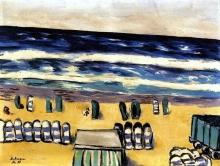 Max Beckmann, Mare blu con sedie di vimini | Blaues Meer mit Strandkörben | Blue sea with wicker chairs