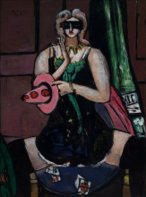 Max Beckmann, Maschera di carnevale, verde, viola e rosa (Colombina) | Carnival mask, green, violet, and pink (Columbine)