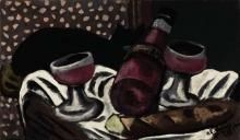 Max Beckmann, Natura morta con bicchieri da vino e gatto | Stillleben mit Weingläsern und Katze | Still life with wine glasses and cat