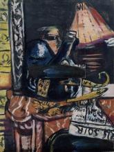 Max Beckmann, Natura morta con bottiglia di liquore inclinata e Budda   Stillleben mit schiefer Schnapsflasche und Buddha   Still-life with crooked liquor bottle and Buddha
