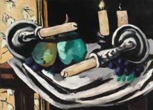 Max Beckmann, Natura morta con candele cadute | Stillleben mit umgestürzten Kerzen  | Still-life with fallen candles