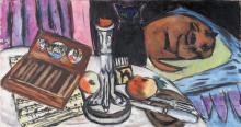 Max Beckmann, Natura morta con candeliere d'argento - Natura morta con gatti