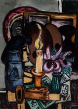 Max Beckmann, Natura morta con due grandi candele | Stillleben mit zwei grossen Kerzen | Still-life with two large candles