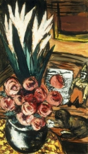 Max Beckmann, Natura morta con rose rosse e Butchy | Stillleben mit Roten Rosen und Butchy | Still life with red roses and Butchy