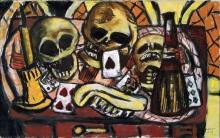 Max Beckmann, Natura morta con tre teschi   Totenkopfstillleben   Still life with three skulls