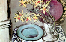 Max Beckmann, Natura morta di orchidee e scodella verde   Orchideen- Stillleben mit grüner Schale   Orchids still life with green dish