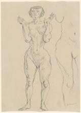 Max Beckmann, Nudo femminile in piedi con le mani alzate   Stehender weiblicher Akt mit erhobenen Händen