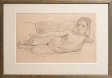 Max Beckmann, Nudo femminile sdraiato con sigaretta   Liegender weiblicher Akt mit Zigarette