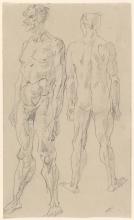 Max Beckmann, Nudo maschile in piedi, vista anteriore e posteriore | Stehender männlicher Akt, Vorder- und Rückenansicht