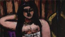 Max Beckmann, Nudo sdraiato nettamente scorciato | Liegender Akt in starker Verkürzung | Reclining nude sharply foreshortened [dettaglio]