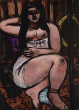 Max Beckmann, Nudo sdraiato nettamente scorciato | Liegender Akt in starker Verkürzung | Reclining nude sharply foreshortened