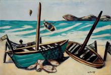 Max Beckmann, Paesaggio costiero con mongolfiera | Küstenlandschaft mit Ballon | Coastal landscape with balloon
