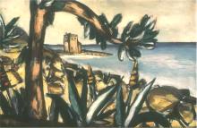 Max Beckmann, Paesaggio marino con agavi e antico castello | Meerlandschaft mit Agaven und altem Schloss