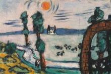 Max Bechmann, Paesaggio nebbioso con mucche | Nebellandschaft mit Kühen | Foggy landscape with cows