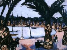Max Beckmann, Porto di Bandol (grigio) e palme   Hafen bei Bandol (grau) und Palmen   Harbor of Bandol (gray) and palms