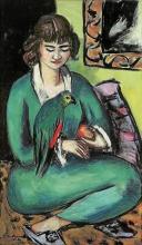 Max Beckmann, Quappi con pappagallo | Quappi mit Papagei | Quappi with a parrot