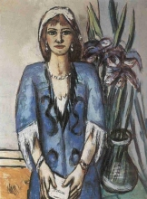 Max Beckmann, Quappi in blu e grigio | Quappi in Blau und Grau | Quappi in blue and grey