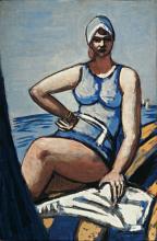 Max Beckmann, Quappi in blu in barca | Quappi im Blau im boot | Quappi in blue in a boot