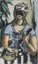 Max Beckmann, Ragazza con banjo e maschera | Mädchen mit Banjo und Maske | Girl with banjo and mask