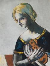 Max Beckmann, Ragazza con gatto giallo (su grigio) | Mädchen mit gelber Katze (auf Grau) | Girl with yellow cat (on grey)