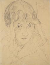 Max Beckmann, Ritratto di Fidel Battenberg che si regge la testa con le mani | Porträt Fridel Battenberg, mit auf beide Hände aufgestütztem Kopf