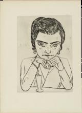 Max Beckmann, Ritratto di Naila appoggiata sui gomiti con bicchiere | Bildnis Naïla mit aufgestützten Armen und Glas