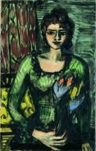 Max Beckmann, Ritratto di Quappi in maglione verde | Bildnis Quappi im grünen Pullover | Portrait of Quappi in green jumper