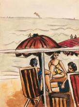Max Beckmann, Scena di spiaggia con ombrellone | Strandszene mit Sonnenschrim | Beach scene with umbrella