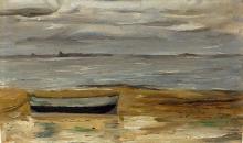 Max Beckmann, Spiaggia con barca grigia e mare grigio | Strand mit grauem Kahn und grauem Meer