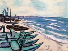 Max Beckmann, Spiaggia con barche sulla Riviera | Strand mit Booten an der Riviera